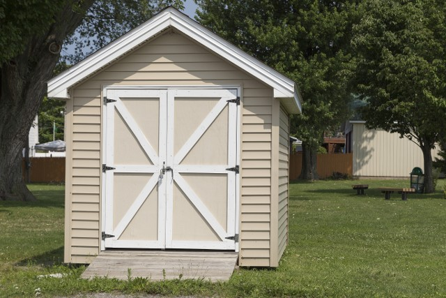 A shed installed in a customers garden